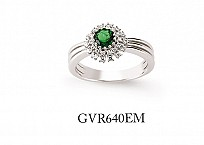 Silver Cubic Zirconia Emerald Cluster Ring