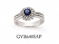 Silver Cubic Zirconia Sapphire Cluster Ring