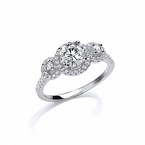 Silver CZ Fancy Cluster Ring