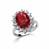 Silver CZ & Ruby Fancy Cluster Ring