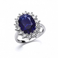 Silver CZ & Sapphire Fancy Cluster Ring