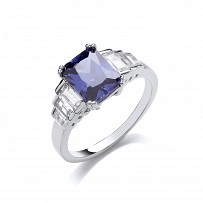 Silver CZ & Tanzanite Fancy Dress Ring