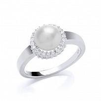 Sterling Silver Freshwater Pearl & CZ Ring