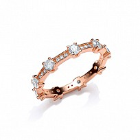 Rose Gold Plated CZ Full Eternity Fancy Ring