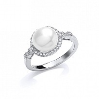 Silver CZ & Centre Freshwater Pearl Fancy Ring