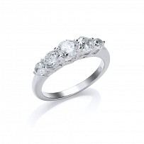 Silver CZ Five Stone Fancy Ring