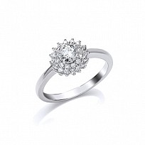 Silver CZ Cluster Solitaire Ring