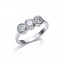 Silver CZ 3 Stone Trilogy Ring