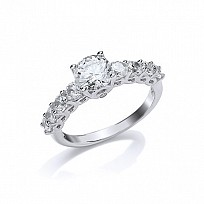 Silver Rhodium Plated CZ Solitaire Ring With CZ Shoulders