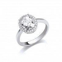 Silver CZ Ladies Fancy Solitare Ring