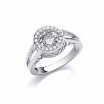 Silver CZ Round Floating Stone Solitaire Ring