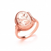 Rose Gold Plated Engraved Locket Ring