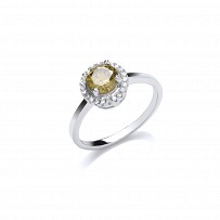 Silver CZ & Peridot Fancy Soiltaire Ring