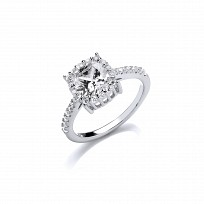 Silver CZ Solitaire Claw Set Ring