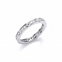 Silver CZ Full Eternity Ring With Baguette & Round Stones