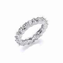 Silver CZ Round Claw Set Full Eternity Ring