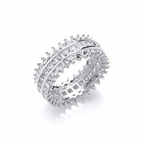 Silver CZ Square And Round Stone Full Eternity Ring