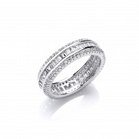 Silver CZ Baguette & Round Full Eternity Ring
