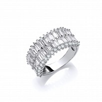 Silver CZ 2 Row Baguette Half Eternity Ring