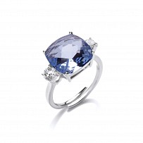Silver CZ & Aqua Cushion Cut Claw Set Ladies Ring