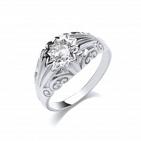 Silver Gents CZ Gypsy Ring