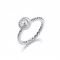 Silver CZ Fancy Solitaire Rope Style Ring