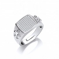 Silver CZ Pave Set Gents Ring