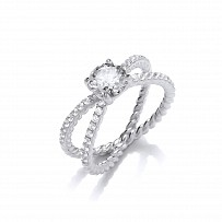 Silver CZ Fancy Solitaire Crossover Ring
