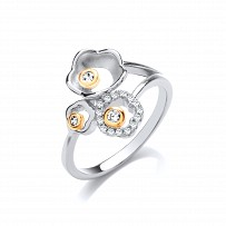 Silver & Gold Plated CZ Fancy Flower Ring