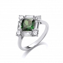 Silver CZ & Emerald Claw & Channel Set Ring