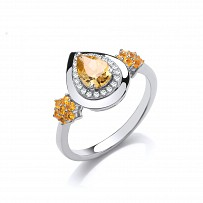 Silver XZ & Citrine Flower & Pear Drop Ring