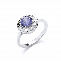 Gold Plated CZ & Tanzanite Fancy Ring With Cutout Detail