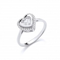 Gold Plated CZ Heart Fancy Ring