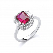 Rose Gold CZ & Ruby Fancy Ring