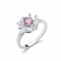 Rose Gold Plated CZ & Pink Flower Fancy Ring