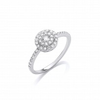 Silver CZ Fancy Solitaire Ring
