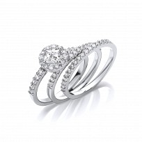 Silver CZ Solitaire Cluster Wedding Band Set
