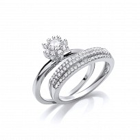 Silver CZ Solitaire & Triple Row Wedding Band Set
