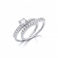 Silver CZ Solitaire & Wish Bone Wedding Band Set