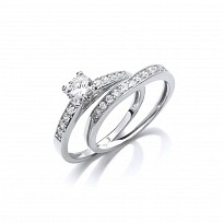 Silver CZ Solitaire Wedding Band Set