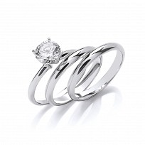 Silver CZ Solitaire Triple Wedding Band Set