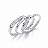 Silver CZ Triple Wedding Band Set