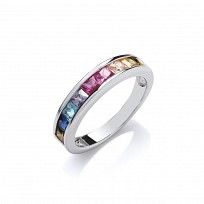 Silver Multi Colour Gemstone Channel Set Ring