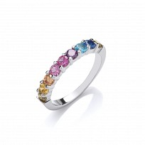 Silver Multi Colour Gemstone Claw Set Ring