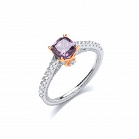 Silver & Rose Gold CZ & Amethyst Solitaire Ring