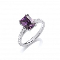 Silver CZ & Amethyst Solitaire Ring