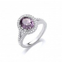 Silver CZ & Amethyst Two Row Shoulder Solitaire Ring