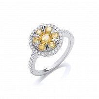 Silver CZ & Yellow Tourmaline Solitaire Ring