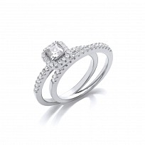 Silver CZ Princess Halo Solitaire Riing