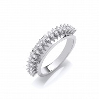 Silver CZ Claw Set Fancy Ring